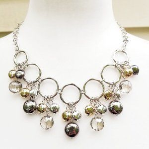 Mixed Metal Bauble Mirror Beads Statement Necklace